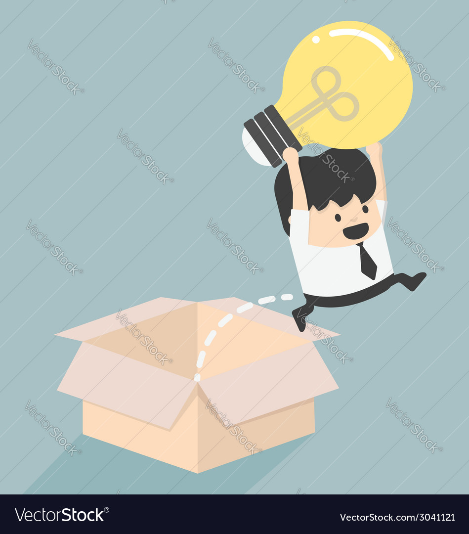 Think outside the box concept to success vector