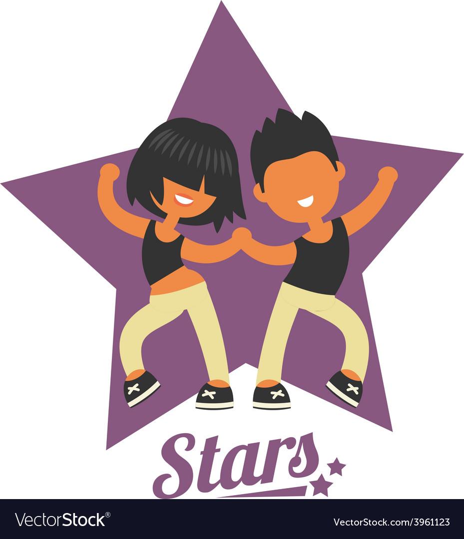 Dance school logo twosome dancers vector