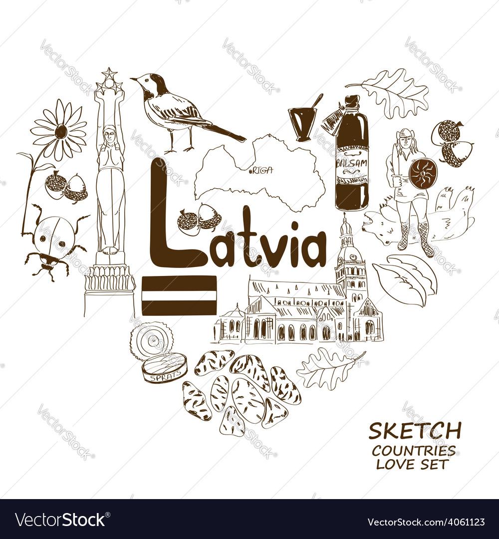 Latvian symbols in heart shape concept vector