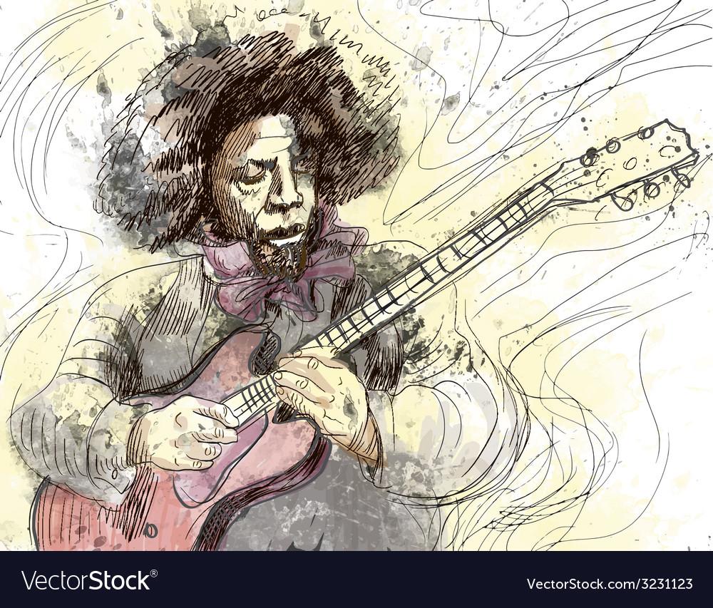 Musician - guitar player vector