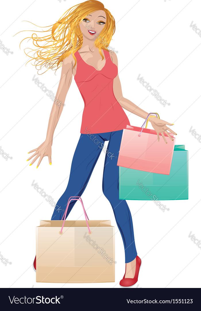 Shopping girl in casual wear vector