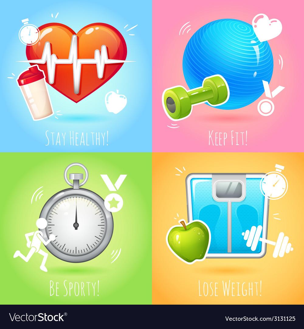 Healthy lifestyle set vector