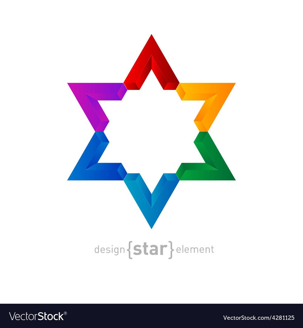 Rainbow star abstract design element vector