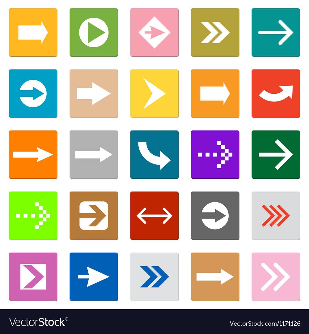 Arrow sign icon set square shape internet button vector