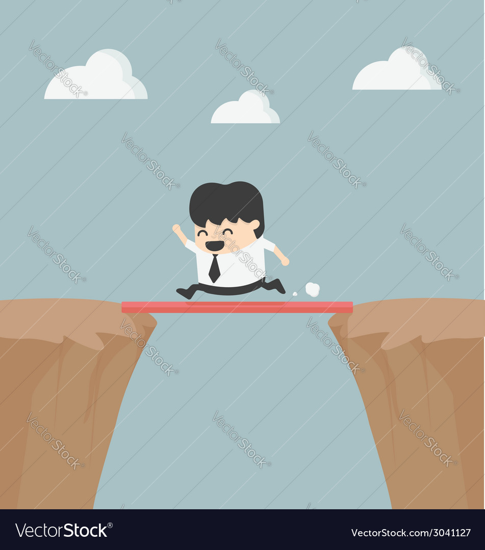Business cross the cliff with wonderful wood vector