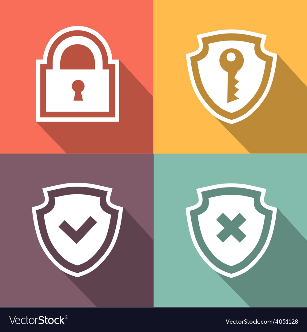 Flat security icons vector