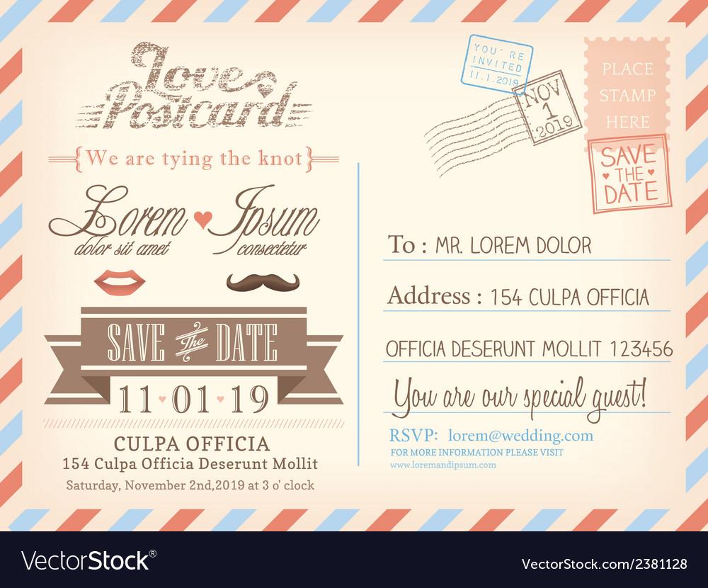 Vintage airmail postcard wedding background vector