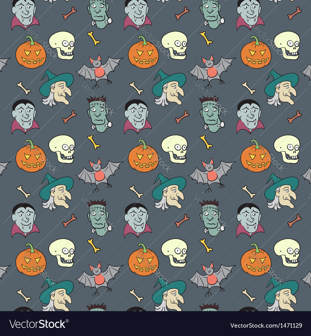 Colorful textile halloween fun pattern vector