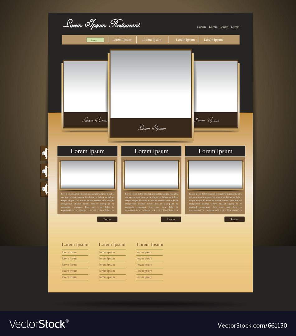 Classy-look restaurant website design vector