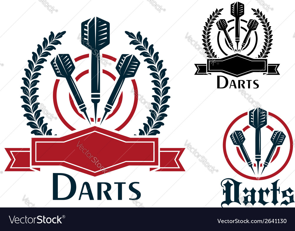 Darts sporting emblems or badges vector