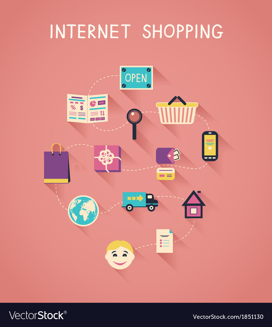 Internet marketing and online shopping vector