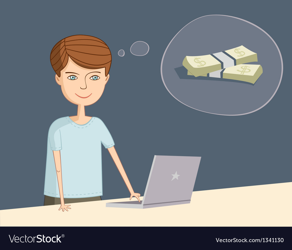 Man near the laptop thinks about earnings vector