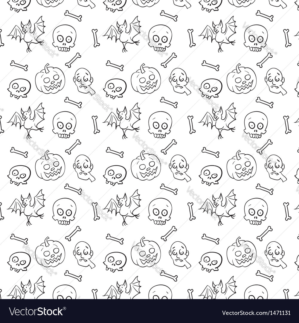 Black and white textile halloween fun pattern vector