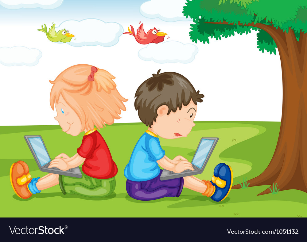 Kids with laptop under a tree vector
