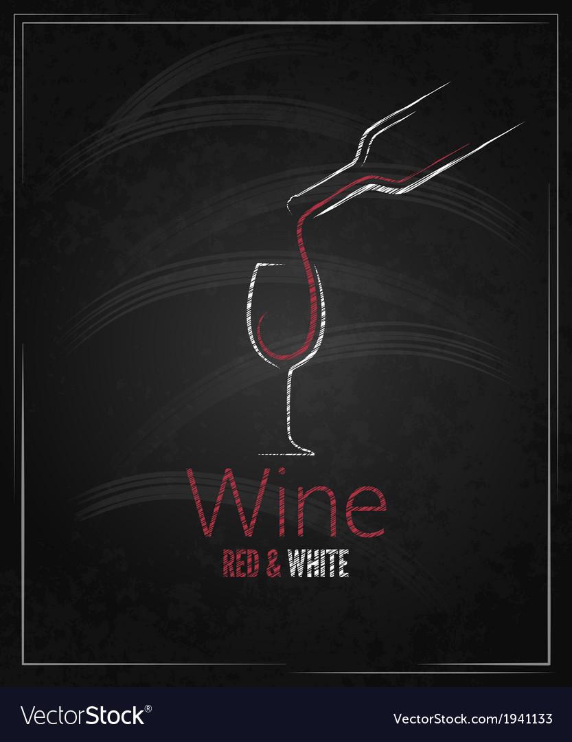 Wine glass chalkboard menu background vector