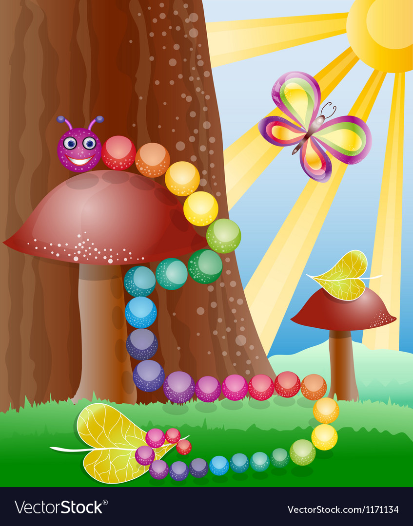 Cartoon picture with nature butterly and caterpil vector