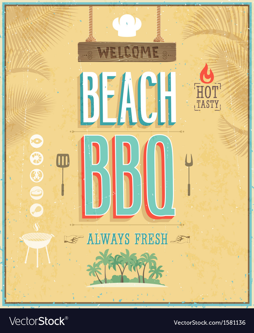 Beach bbq vector