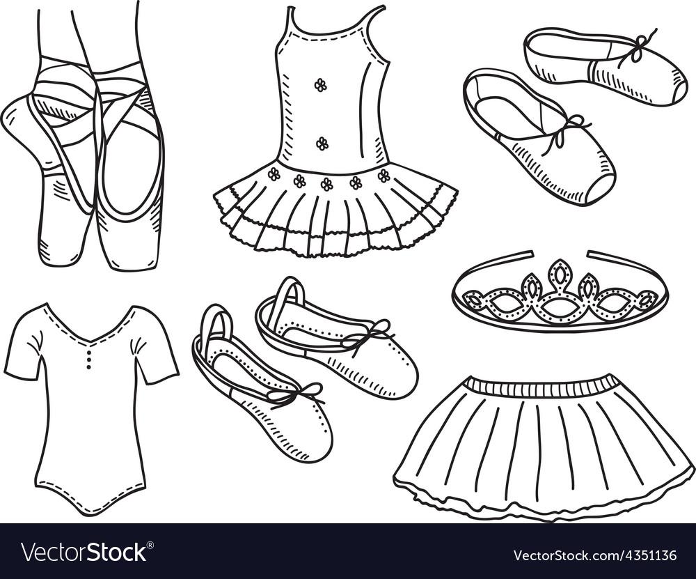 Set of ballerina accessories vector