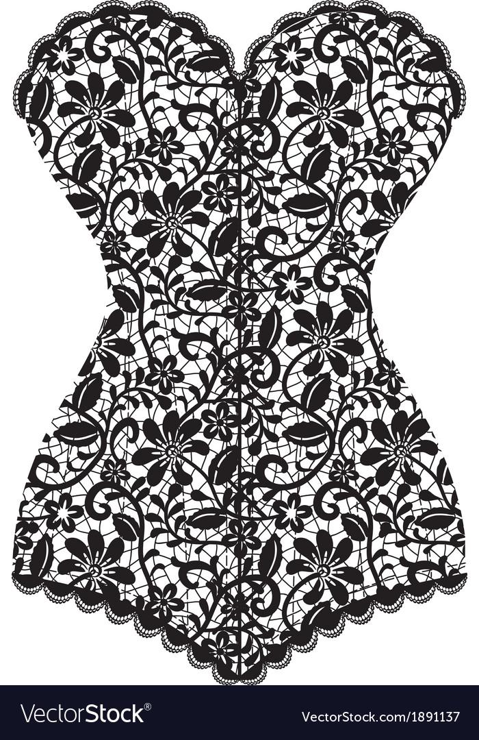 Black lace corset corset vector