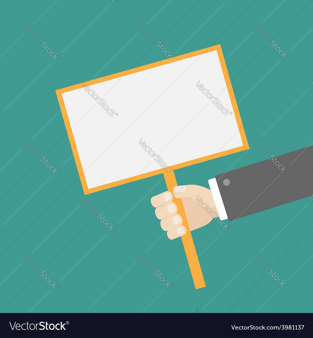 Businessman hand holding rectangular paper blank vector