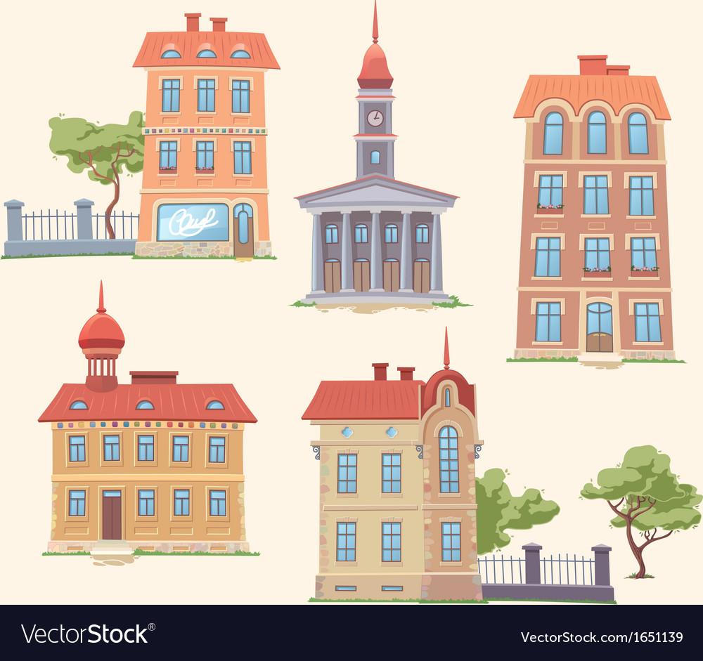Classic buildings set vector