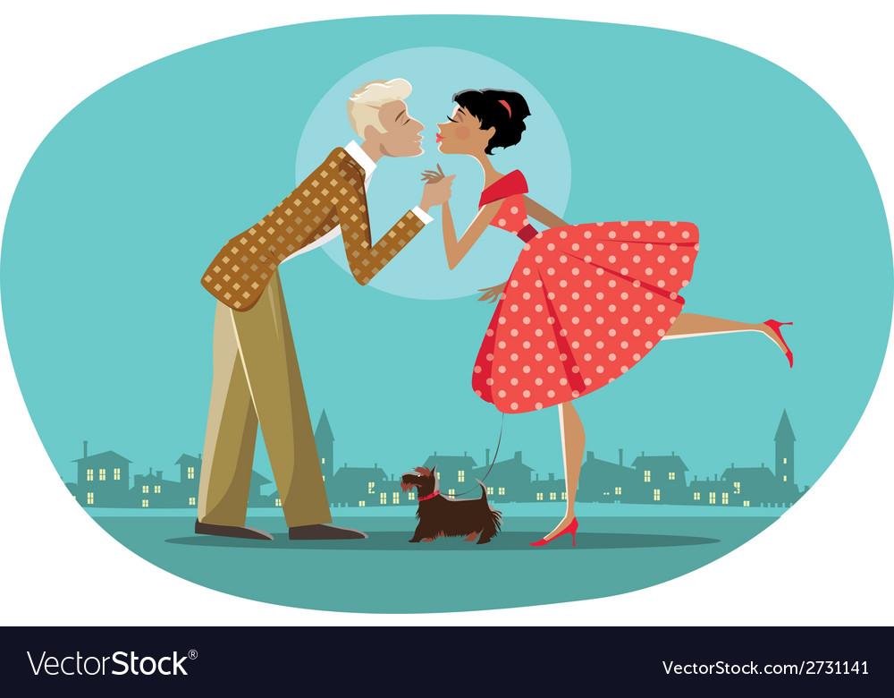 Romantic retro couple kissing vector