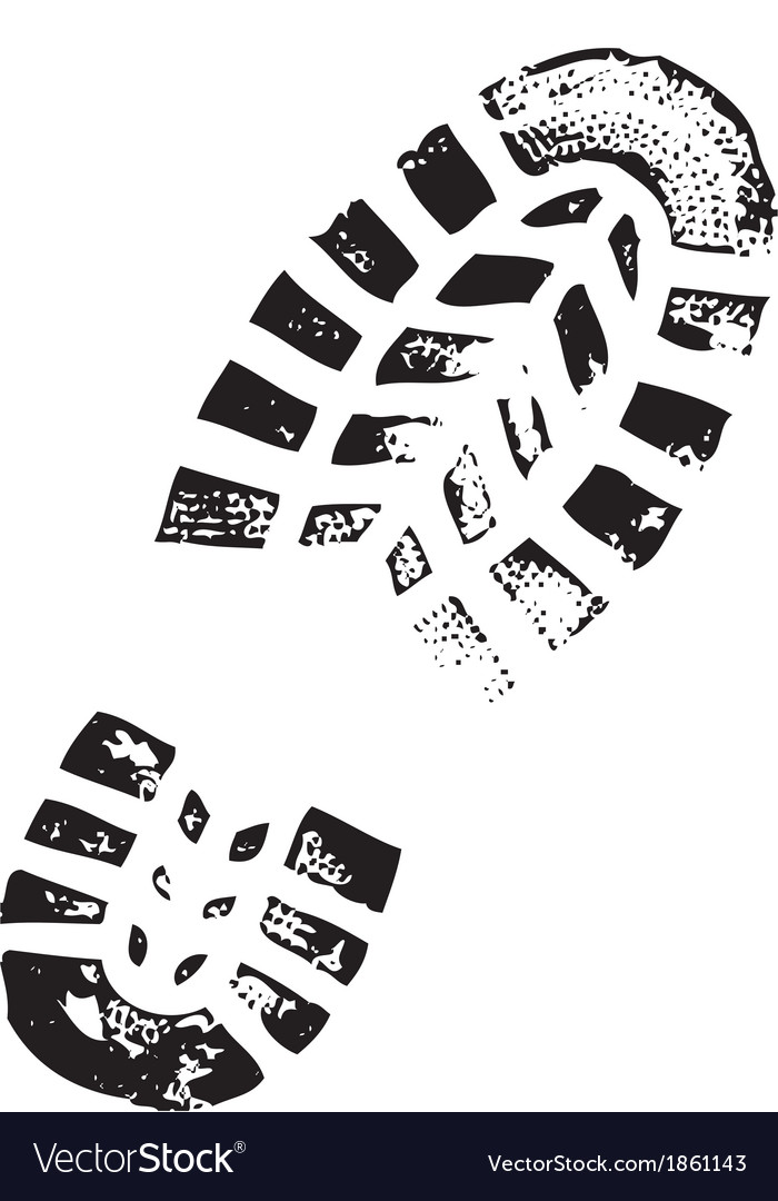 Black shoe print on white background vector