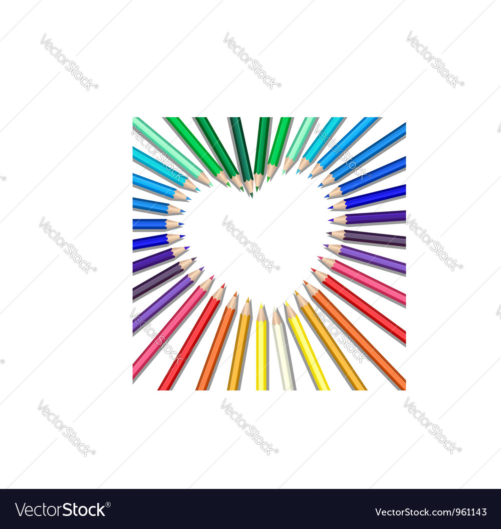 Colored pencils heart vector