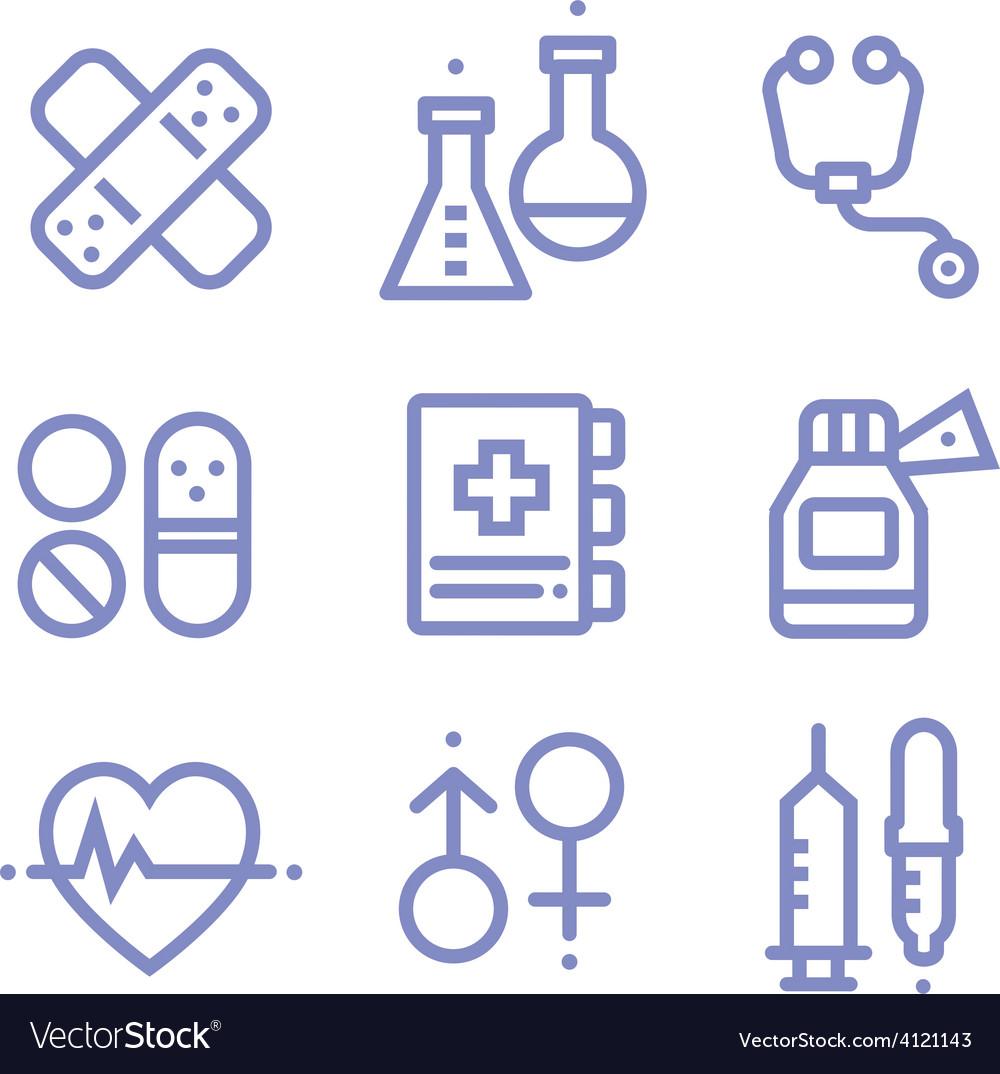 Contour simple medical icons set vector