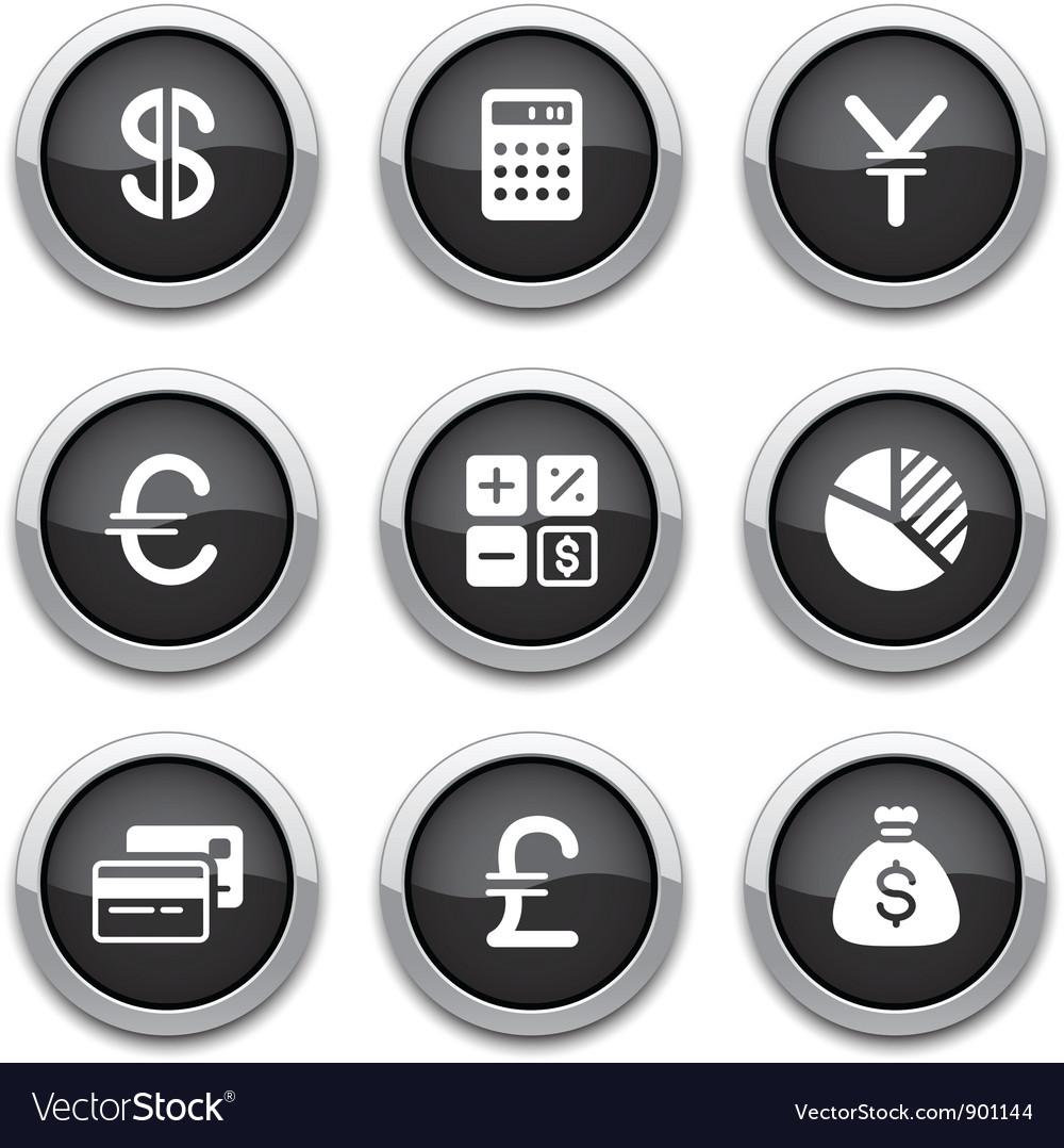 Black finance buttons vector