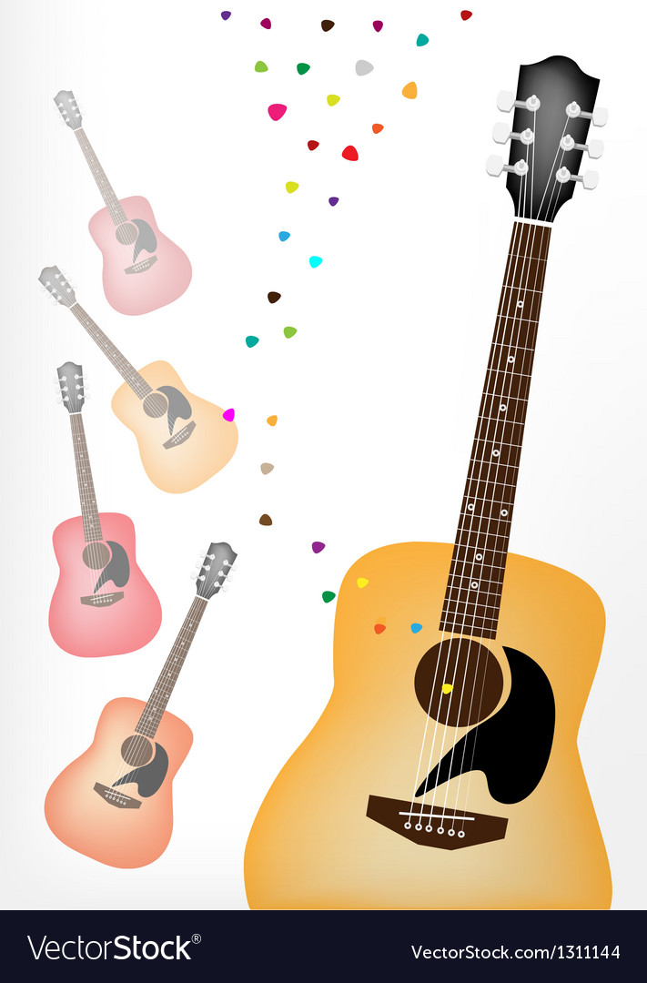 Elegance guitar on colorful guitars background vector