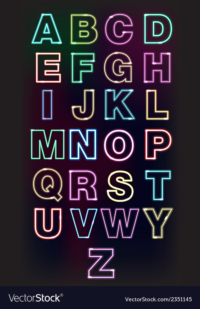 Neon glow alphabet design for the advertisement vector
