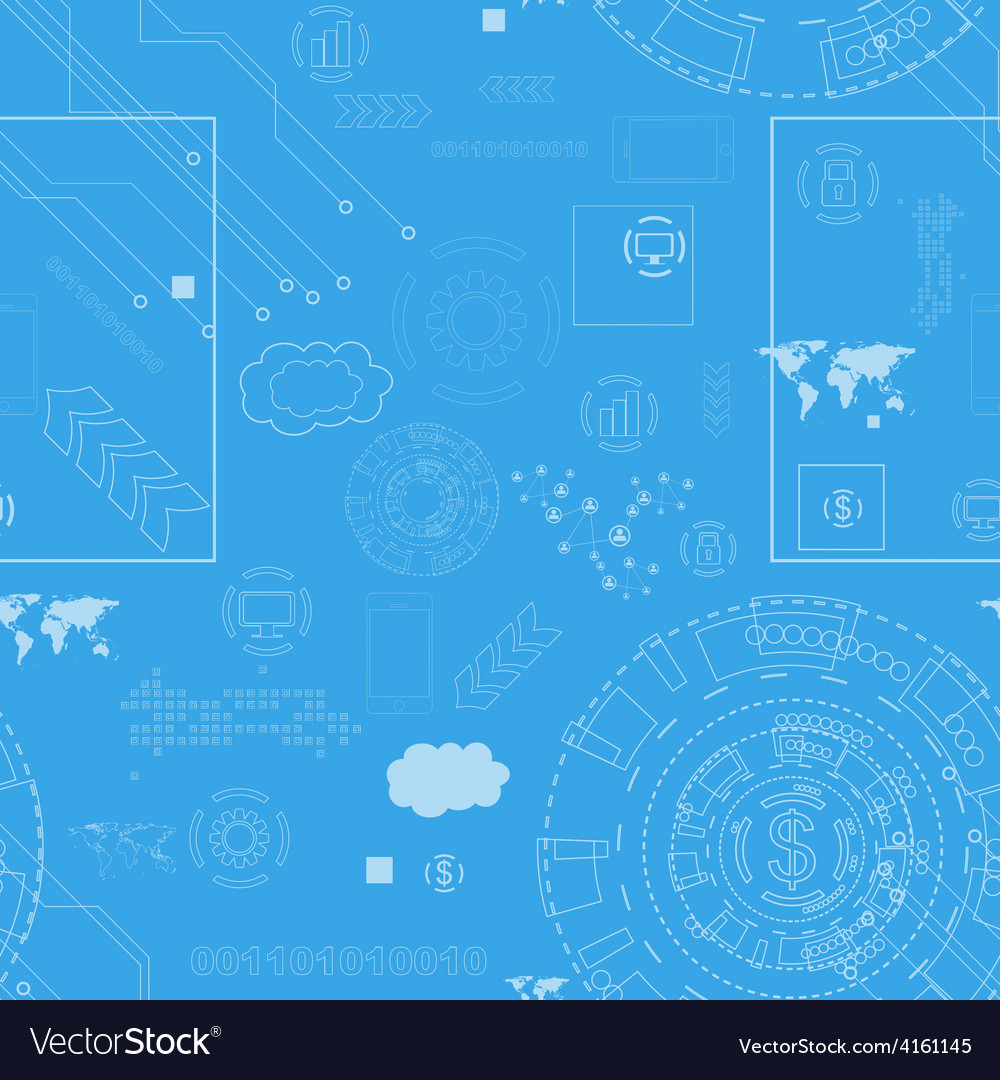 Tech engineering seamless drawing background vector