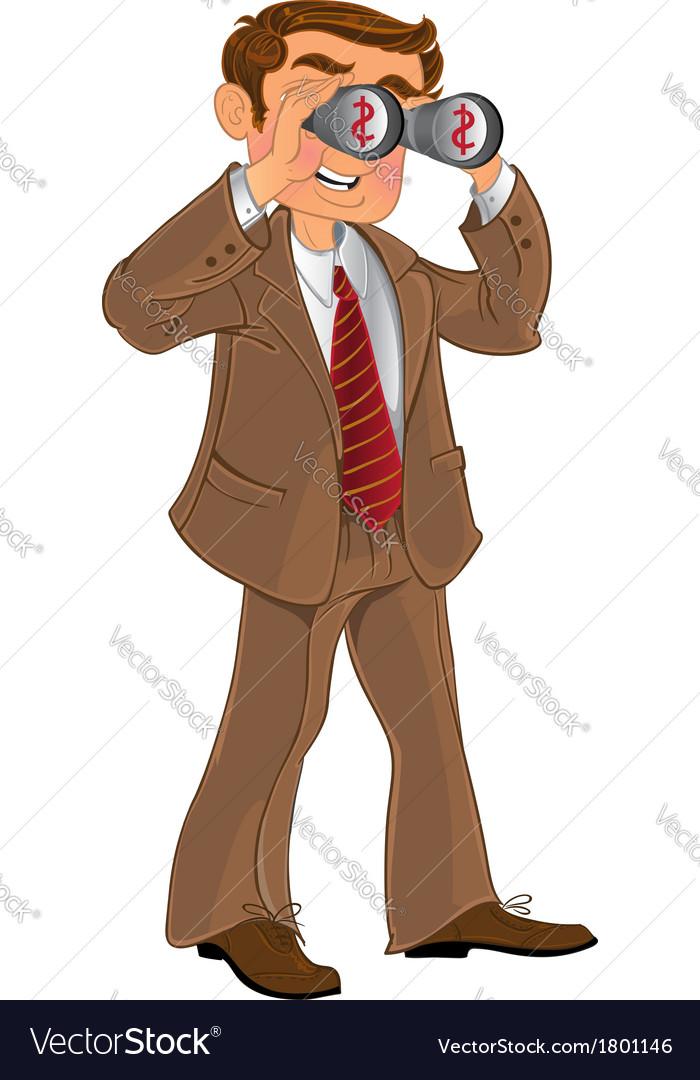 Businessman in brown suit with binoculars look on vector