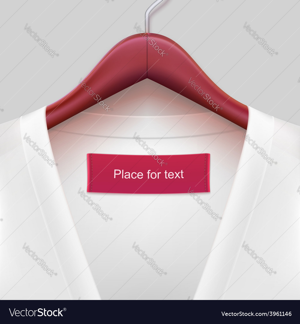 Jacket with label hanging on a hanger vector