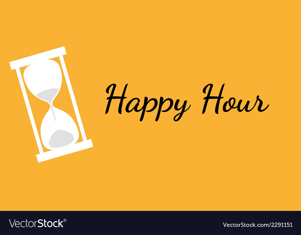 Happy hour background with clock vector