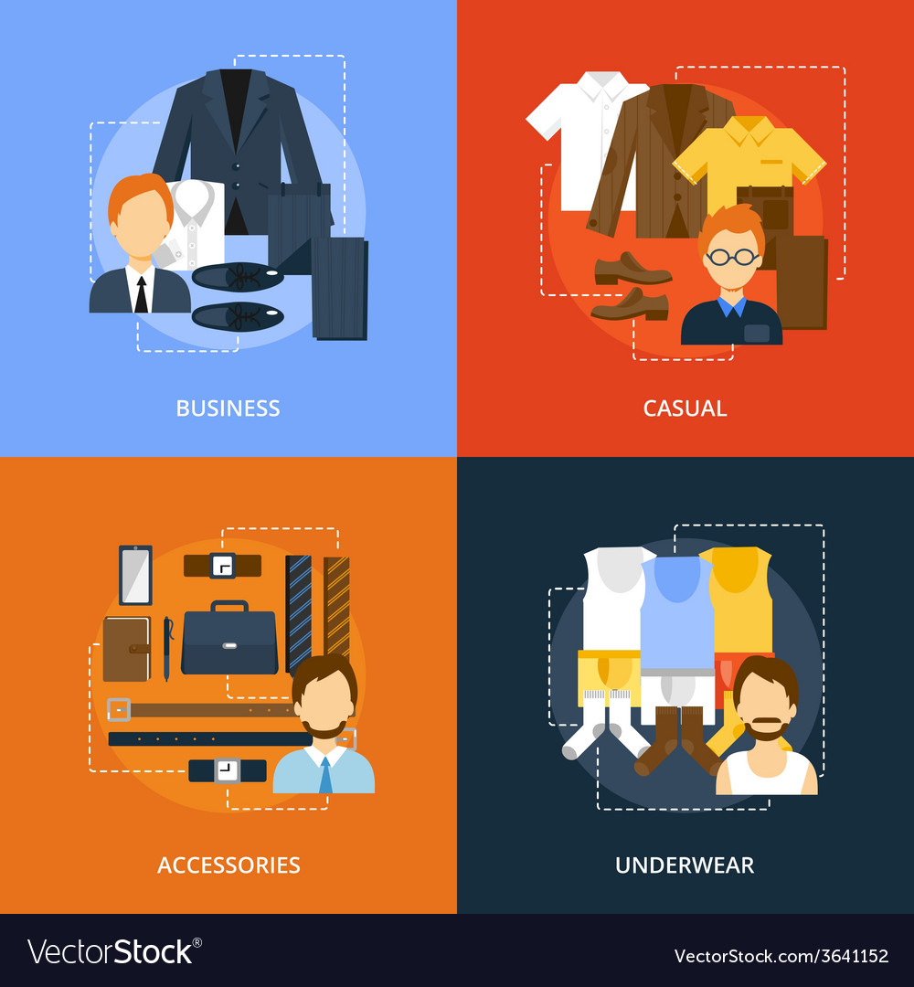 Clothes icons flat vector