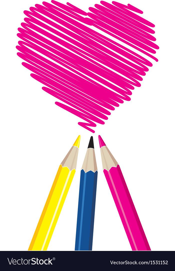 Three pencils drawing heart shape vector