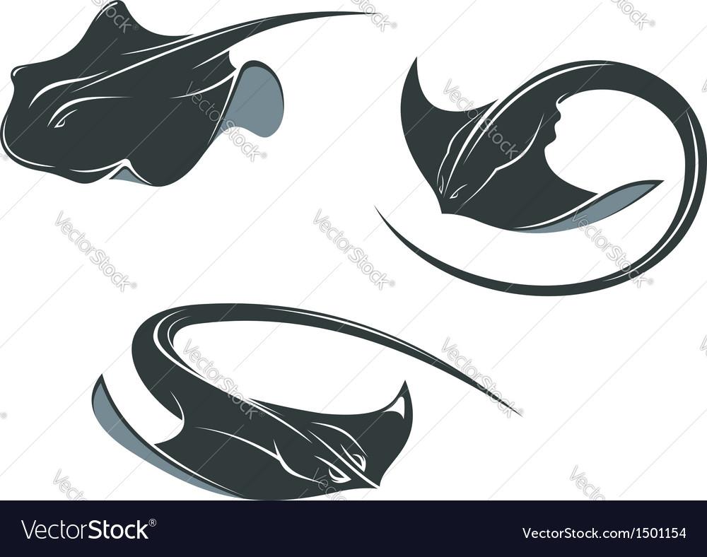 Stingray fish mascots vector