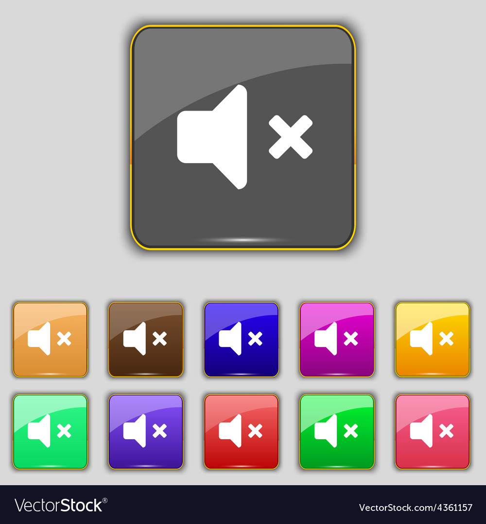 Mute speaker sound icon sign set with eleven vector