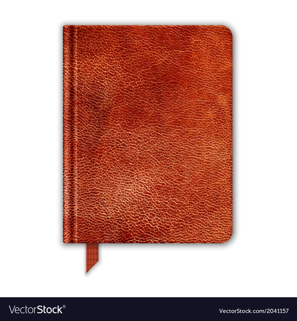 Natural leather notebook copybook with bookmark vector