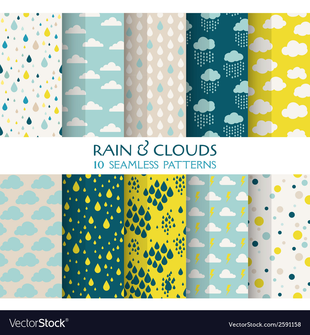 10 seamless patterns - rain and clouds vector