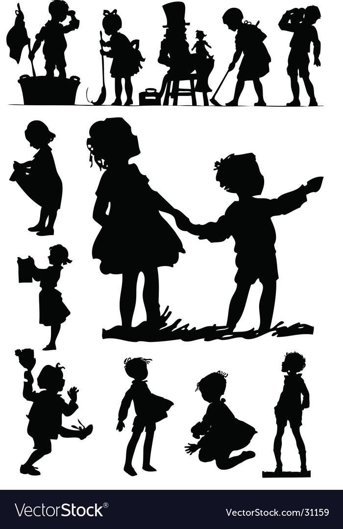 Children silhouettes vector