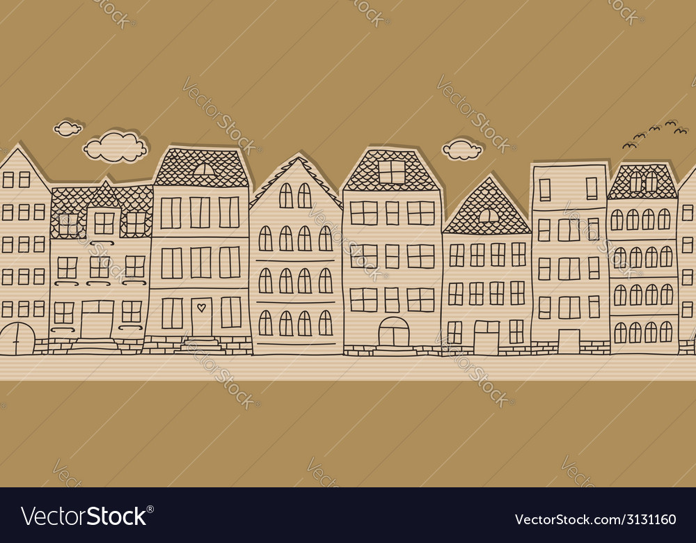 Horizontal seamless doodle houses pattern vector