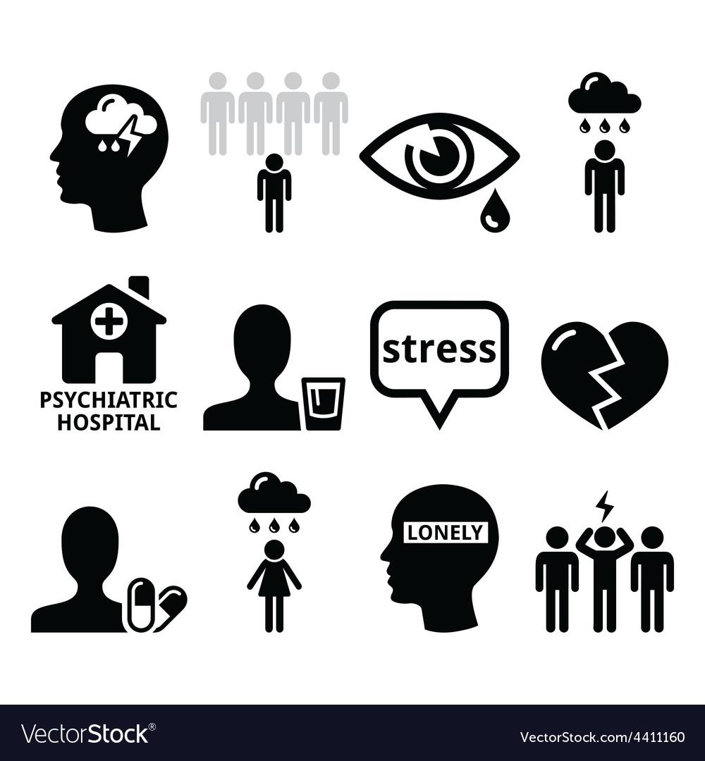 Mental health icons - depression addiction vector