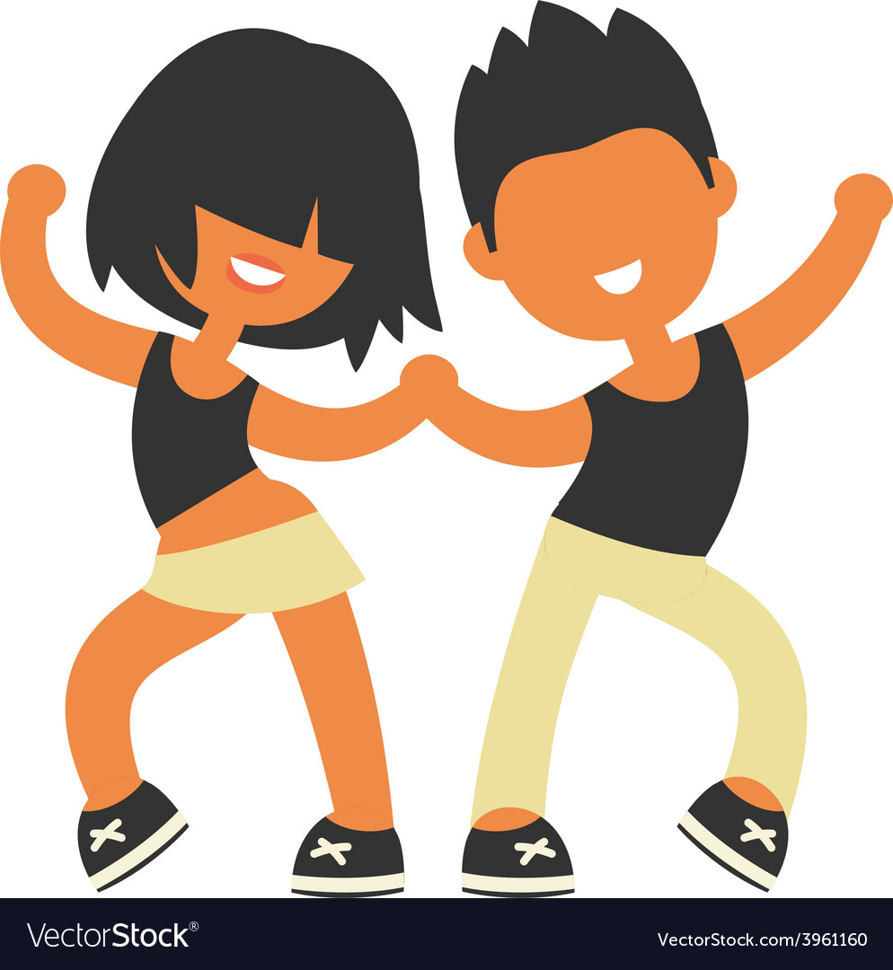 Sporty girl and boy dancing together vector