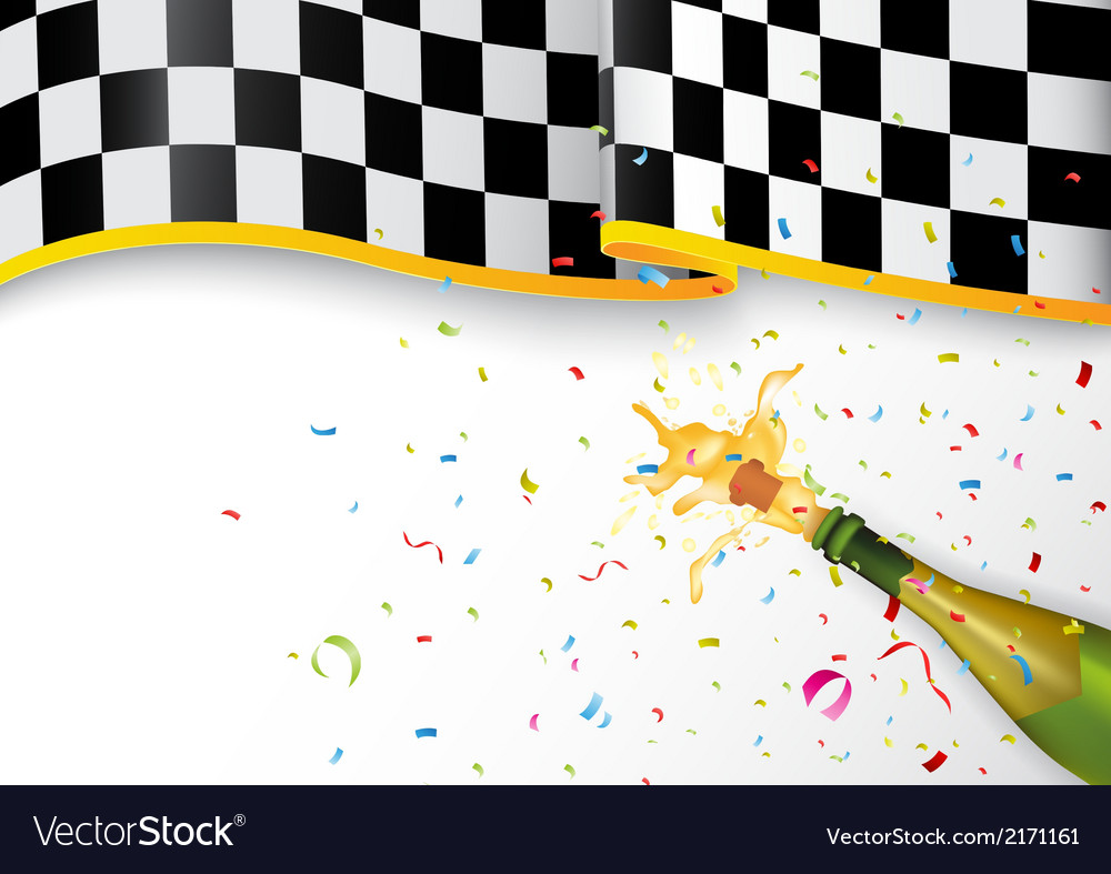 Champion celebration with champagne explosion and vector