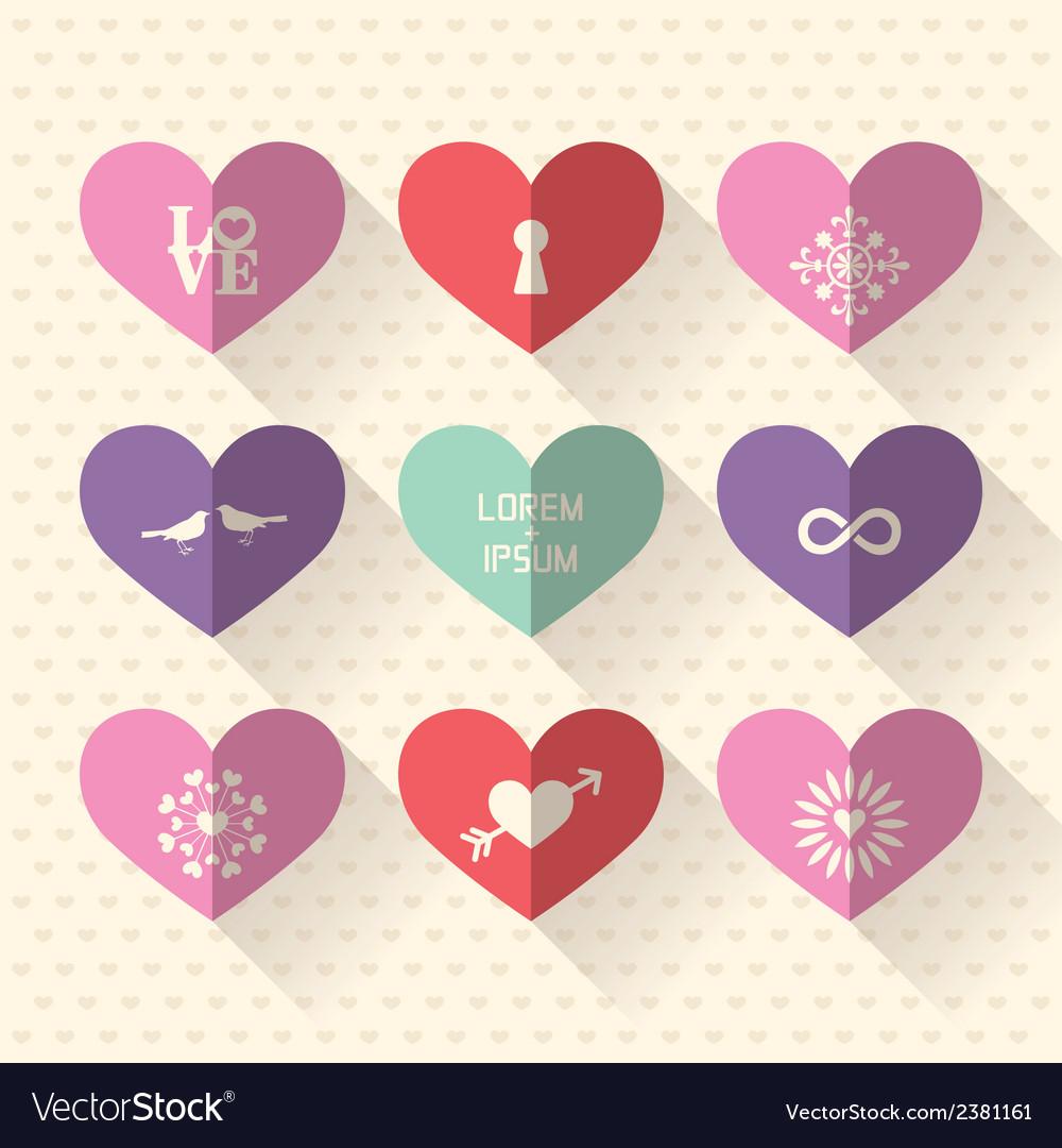 Heart symbol flat design icon set vector