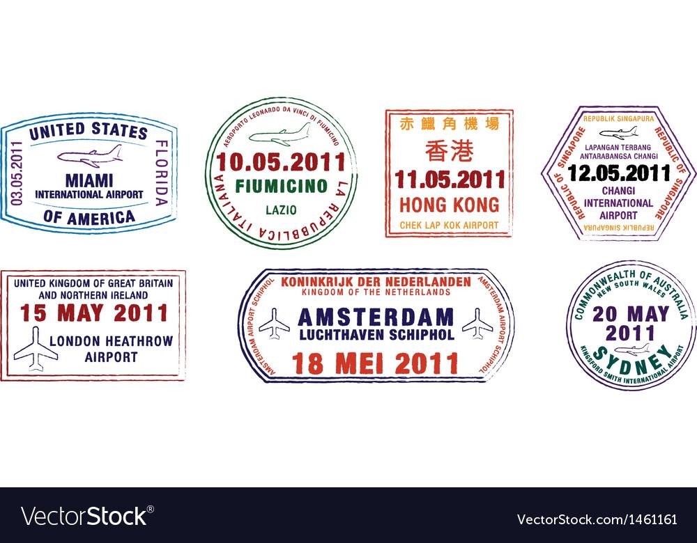 Major city passport stamps vector