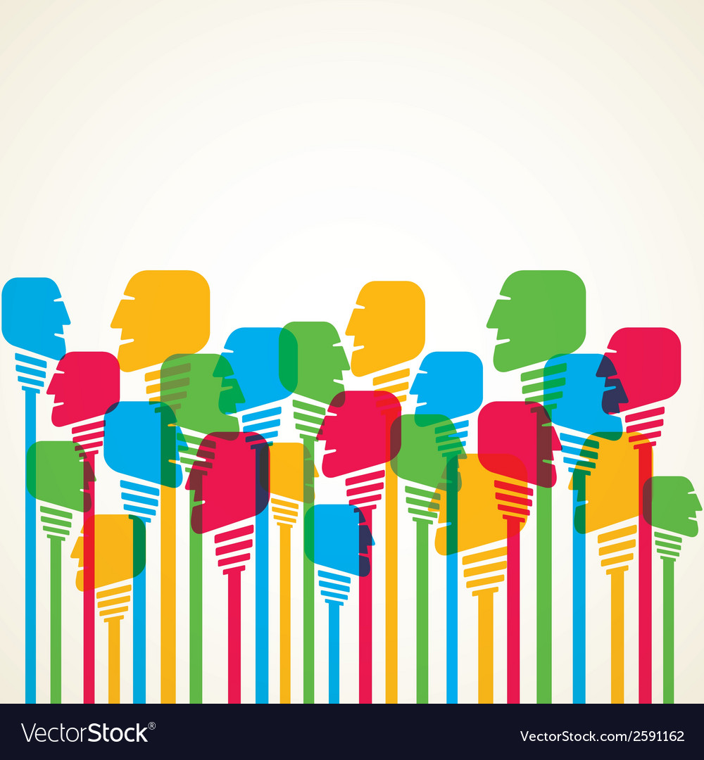 Colorful people crowd background vector